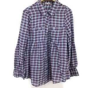 Joie Pinot Plaid Button Front Shirt Tab Sleeve
